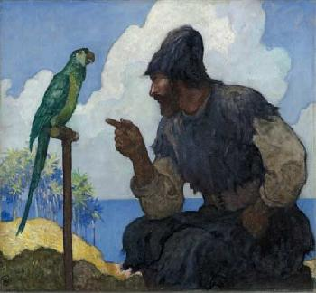 Newell Convers Wyeth However, at last, I taught him to Open Edition Giclee on Canvas