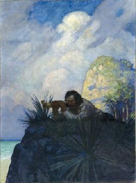Newell Convers Wyeth I laid me down flat on my belly on the ground Open Edition Giclee on Canvas