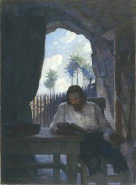 Newell Convers Wyeth In the morning I took the Bible Open Edition Giclee on Canvas