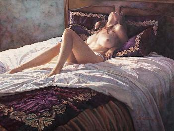 Steve Hanks In The Soft Comfort Of Her Bed Giclee on Canvas