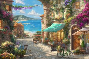 Thomas Kinkade Italian Cafe Estate Edition on Canvas