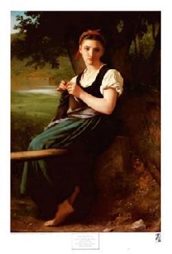 William Adolphe Bouguereau Knitting Girl 1869