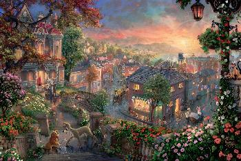 Thomas Kinkade Lady and the Tramp Jewel Edition on Canvas