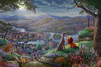 Thomas Kinkade Lady and the Tramp - Falling in Love SN Paper