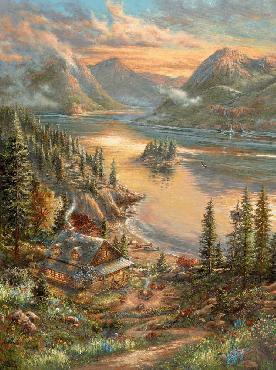 Thomas Kinkade Lakeside Splendor SN Canvas