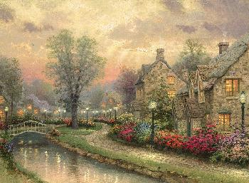 Thomas Kinkade Lamplight Lane SN Paper