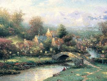Thomas Kinkade Lamplight Village SN Canvas