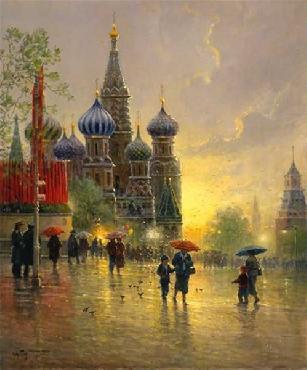 G. Harvey Light Rain on Red Square Serigraph