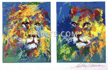 LeRoy Neiman Lion and Lioness Hand Pulled Serigraph