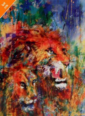 LeRoy Neiman Lion Couple Open Edition on Paper - Last Ones!