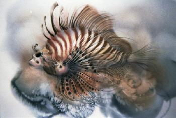 Lee Bogle Lion Fish Giclee on Paper
