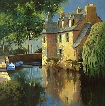 Max Hayslette Little Canal, Annecy Giclee on Canvas