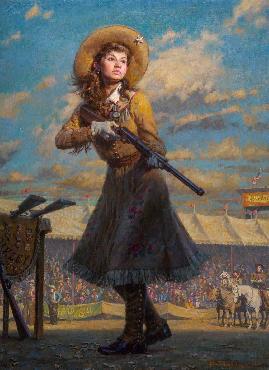Morgan Weistling Little Sure Shot, Annie Oakley Giclee on Canvas