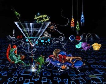 Michael Godard Lounge Lizard Giclee on Canvas