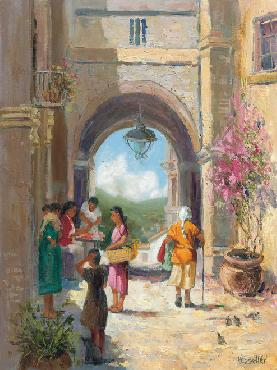H.C. Zachry Mexico Street Giclee on Canvas