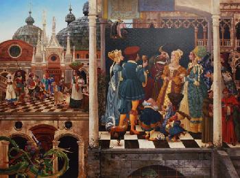 James Christensen Michael the Archangel Battles the Dragon- Giclee on Canvas