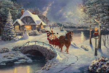 Thomas Kinkade Mickey and Minnie - Evening Sleigh Ride Gallery Proof on Canvas
