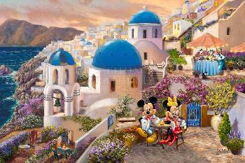 Thomas Kinkade Mickey and Minnie - In Greece SN Canvas