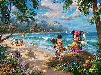 Thomas Kinkade Mickey and Minnie in Hawaii Examination Proof on Canvas