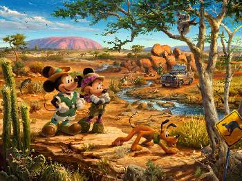 Thomas Kinkade Mickey and Minnie - In the Outback SN Canvas
