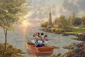 Thomas Kinkade Mickey and Minnie - Lighthouse Cove Artist