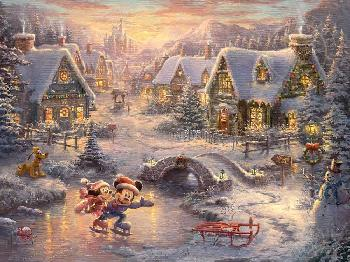 Thomas Kinkade Mickey and Minnie - Sweetheart Holiday SN Paper