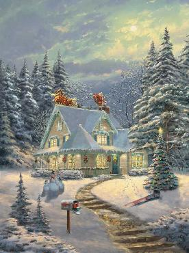 Thomas Kinkade Midnight Delivery SN Canvas