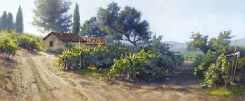 June Carey Monterey Vineyard Hand-Highlighted Artist