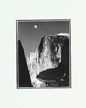 Ansel Adams Moon And Half Dome SM Matted