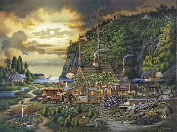Charles Wysocki Moonlight and Roses in Olde Maine Artist