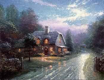 Thomas Kinkade Moonlight Lane SN Canvas