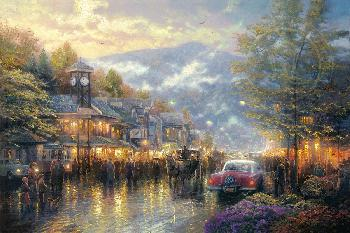 Thomas Kinkade Mountain Memories Gallery Proof on Canvas
