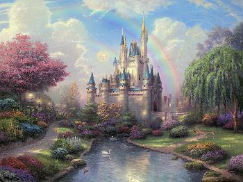Thomas Kinkade New Day at the Cinderella Castle SN Canvas