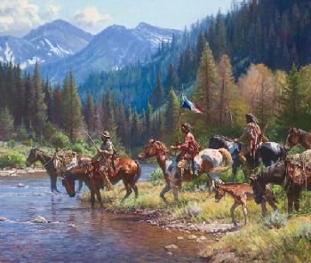 Martin Grelle New Wealth for the Blackfeet Signed Open Edition Giclee on Canvas