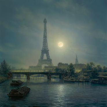 Clinton Broyles Night On The Seine Giclee on Canvas
