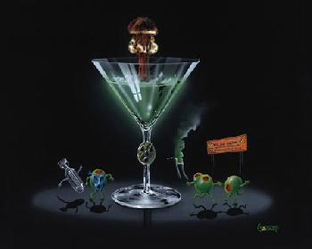 Michael Godard Nuclear Martini Giclee on Canvas