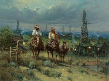 G. Harvey Oil Patch Cowhands Giclee on Canvas