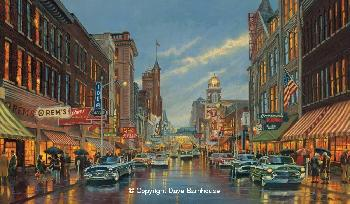 Dave Barnhouse Parkersburg Memories Giclee on Canvas