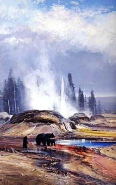 Michael Coleman Passing Showers - Yellowstone National Park 1988 National Park Stamp Print
