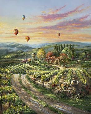 Thomas Kinkade Peaceful Valley Vineyard SN Canvas