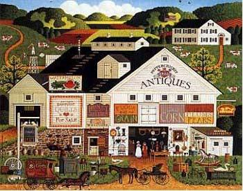 Charles Wysocki Peppercricket Farms Signed Open Edition on Canvas