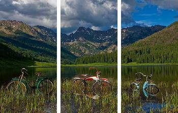 Todd Van Fleet Piney Lake Triptych Signed Open Edition Giclee on Canvas