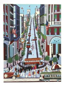 Nicky Watanabe Powell Street Cable Car Hand Pulled Serigraph