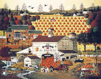 Charles Wysocki Pumpkin Hollow Signed Open Edition on Canvas