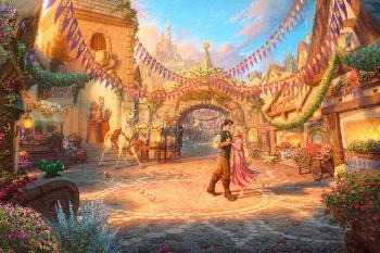 Thomas Kinkade Rapunzel Dancing in the Sunlit Courtyard SN Paper