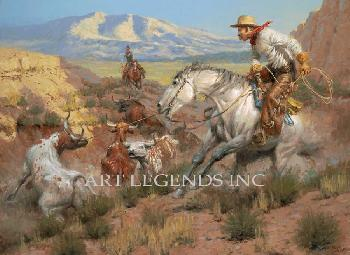 Andy Thomas Rebel Steer Signed Open Edition on Canvas