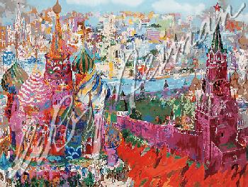 Leroy Neiman Red Square Panorama Hand Pulled Serigraph