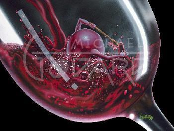 Michael Godard Red Wine Bath Giclee on Canvas