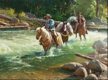 Bill Anton River Runners Giclee on Canvas