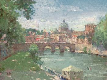 Thomas Kinkade Rome - View of St Peters SN Canvas
